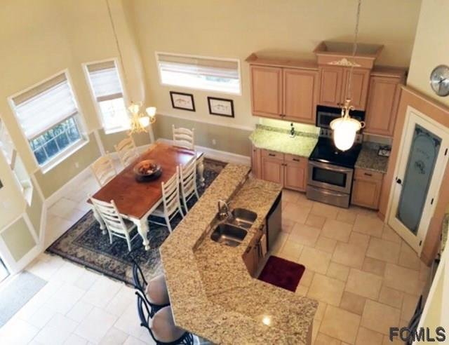 aerial view of kitchen and breakfast area